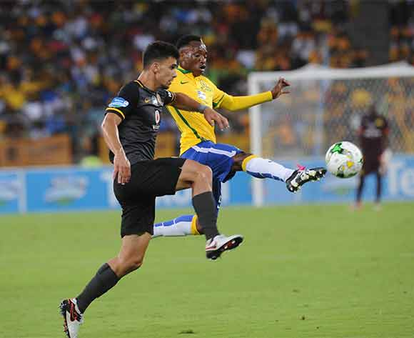 Khama Billiat of Mamelodi Sundowns is challenged by Lorenzo Gordinho of Kaizer Chiefs during the Telkom Knockout Final match between Mamelodi Sundiowns and Kaizer Chiefs on 16 December 2015 at Moses Mabhida Stadium Pic Sydney Mahlangu/ BackpagePix