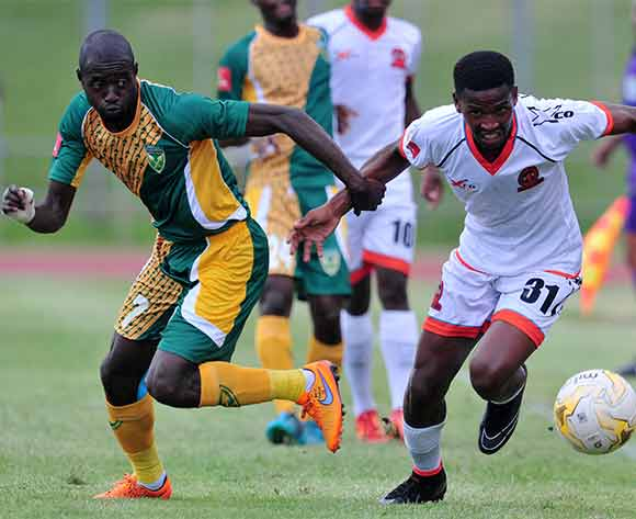 Deon Hotto of Golden Arrows challenged by Mfundo Phungwayo of Polokwane City during the Absa Premiership 2015/16 match between Golden Arrows v Polokwane City at Chatsworth Stadium, Durban on the 19 December 2015 ©Muzi Ntombela/BackpagePix