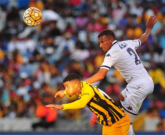Nazeer Allie of Bidvest Wits beats George Lebese of Kaizer Chiefs in the air during Absa Premiership 2015/16 game between Kaizer Chiefs and Bidvest Wits at Cape Town Stadium on 19 December 2015 ©Ryan Wilkisky/BackpagePix