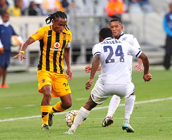 Siphiwe Tshabalala of Kaizer Chiefs takes on Onismor Bhasera and Daine Klate of Bidvest Wits during Absa Premiership 2015/16 game between Kaizer Chiefs and Bidvest Wits at Cape Town Stadium on 19 December 2015 ©Ryan Wilkisky/BackpagePix