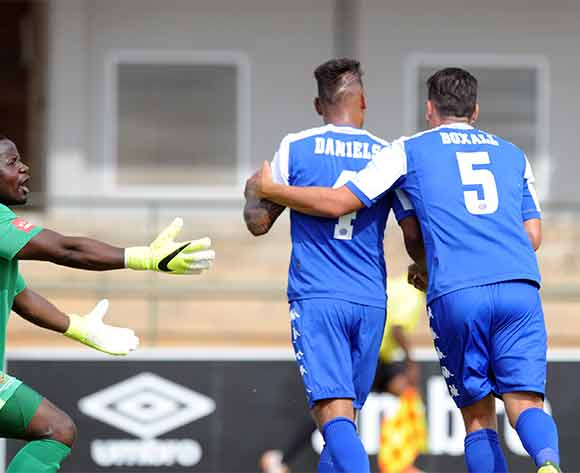 Clayton Daniels and Michael Boxall of Supersport United celebrate a goal  during the Absa Premiership match between University of Pretoria and Supersport United on 20 December 2015 at Tuks Stadium Pic Sydney Mahlangu/ BackpagePix