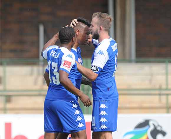 Clayton Daniels  of Supersport United celebrates a goal with teammates  during the Absa Premiership match between University of Pretoria and Supersport United on 20 December 2015 at Tuks Stadium Pic Sydney Mahlangu/ BackpagePix