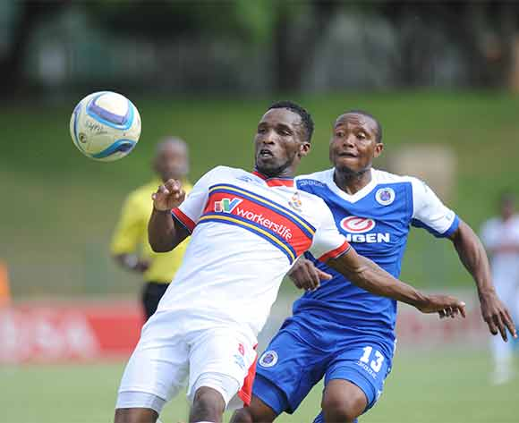 Vuyisile Ntombayithethi of University of Pretoria is challenged by Thuso Phala of Supersport United  during the Absa Premiership match between University of Pretoria and Supersport United on 20 December 2015 at Tuks Stadium Pic Sydney Mahlangu/ BackpagePix
