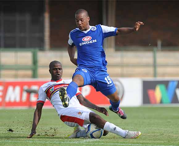 Fagrie Lakay of Supersport United is tackled by Junior Sibande of University of Pretoria   during the Absa Premiership match between University of Pretoria and Supersport United on 20 December 2015 at Tuks Stadium Pic Sydney Mahlangu/ BackpagePix
