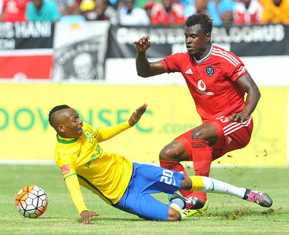 Khama Billiat of mamelodi Sundowns challenged by Edwin Gyimah of Orlando Pirates  during the Absa Premiership match between Mamelodi Sundowns and Orlando Pirates at the Loftus Stadium in Pretoria, South Africa on December 20, 2015 ©Samuel Shivambu/BackpagePix