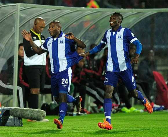 John Paintsil of Maritzburg United celebrates with goal scorer Mondili Cele of Maritzburg United as he runs past the pirates reserves during the Absa Premiership match between Maritzburg United and Orlando Pirates at the Harry Gwala Stadium in Pietermaritzburg South Africa on Jan 16, 2016 ©Gerhard Duraan/BackpagePix