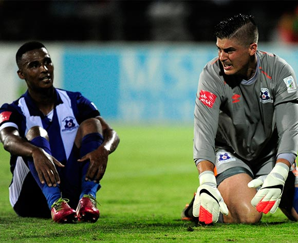 Glenn Verbauwhede (goal keeper) of Maritzburg United could not hide his disappointment on letting a goal through during the Absa Premiership match between Maritzburg United and Mamelodi Sundowns at the Harry Gwala Stadium in Pietermaritzburg South Africa on Jan 30, 2016 ©Gerhard Duraan/BackpagePix