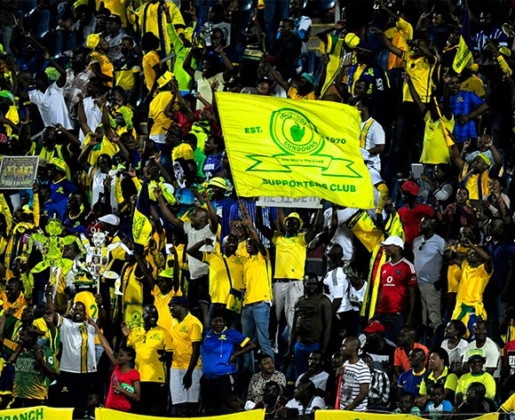 Mamelodi Sundowns supporters had a lot to cheer about during the Absa Premiership match between Maritzburg United and Mamelodi Sundowns at the Harry Gwala Stadium in Pietermaritzburg South Africa on Jan 30, 2016 ©Gerhard Duraan/BackpagePix