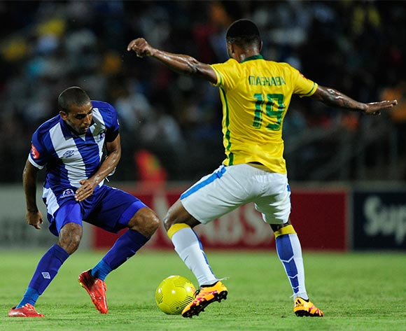 Deolin Mekoa of Maritzburg United tries to find a way round Mzikayise Mashaba of Mamelodi Sundowns FC during the Absa Premiership match between Maritzburg United and Mamelodi Sundowns at the Harry Gwala Stadium in Pietermaritzburg South Africa on Jan 30, 2016 ©Gerhard Duraan/BackpagePix