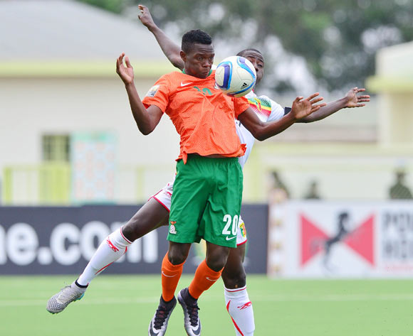 Patson Daka of Zambia chest ball from Abdoul Karim Dante of Mali during the 2016 CHAN football match between Zambia and Mali at the Stade de Kigali in Kigali, Rwanda on 27 January 2016 ©Gavin Barker/BackpagePix