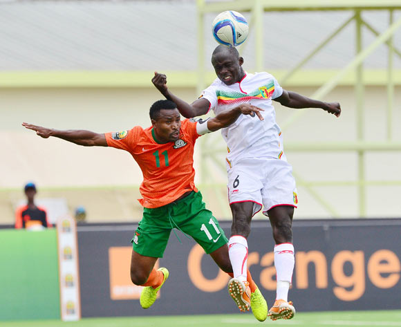 Diarra Seku of Mali wins header against  Christopher Katongo of Zambia during the 2016 CHAN football match between Zambia and Mali at the Stade de Kigali in Kigali, Rwanda on 27 January 2016 ©Gavin Barker/BackpagePix