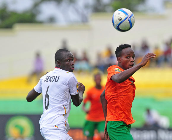 Clatous Chota of Zambia and Diarra Sekou of Mali prepare to give chase during the 2016 CHAN Rwanda game between Zambia and Mali at Stade de Kigali, Kigali on 27 January 2016 ©Ryan Wilkisky/BackpagePix