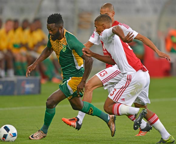 Mwape Musonda of Golden Arrows gets away from Rivaldo Coetzee of Ajax Cape Town and Ruzaigh Gamildien of Ajax Cape Town during the Absa Premiership 2015/16 football match between Ajax Cape Town and Golden Arrows at Cape Town Stadium, Cape Town on 29 January 2016 ©Chris Ricco/BackpagePix