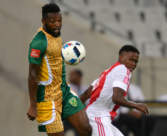 Mwape Musonda of Golden Arrows evades challenge from Ndiviwe Mdabuka of Ajax Cape Town during the Absa Premiership 2015/16 football match between Ajax Cape Town and Golden Arrows at Cape Town Stadium, Cape Town on 29 January 2016 ©Chris Ricco/BackpagePix