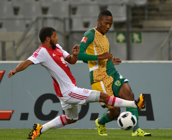 Nkayinso Mngwengwe of Golden Arrows tackled by Riyaad Norodien of Ajax Cape Town during the Absa Premiership 2015/16 football match between Ajax Cape Town and Golden Arrows at Cape Town Stadium, Cape Town on 29 January 2016 ©Chris Ricco/BackpagePix