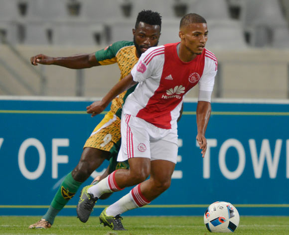 Rivaldo Coetzee of Ajax Cape Town gets away from Mwape Musonda of Golden Arrows during the Absa Premiership 2015/16 football match between Ajax Cape Town and Golden Arrows at Cape Town Stadium, Cape Town on 29 January 2016 ©Chris Ricco/BackpagePix