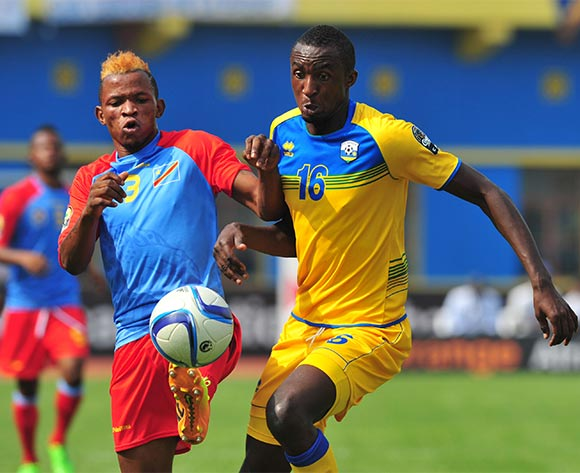Ernest Sugira of Rwanda challenged by Lomalisa Mutambala of DR Congo during the 2016 CHAN Rwanda, Quarterfinal match between Rwanda and DR Congo in Amahoro Stadium, Kigali, Rwanda on 30 January 2016 ©Muzi Ntombela/BackpagePix