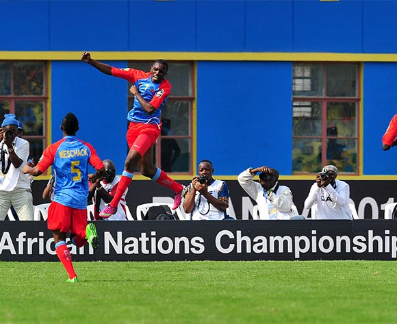 Doxa Gikanji of DR Congo celebrates goal during the 2016 CHAN Rwanda, Quarterfinal match between Rwanda and DR Congo in Amahoro Stadium, Kigali, Rwanda on 30 January 2016 ©Muzi Ntombela/BackpagePix