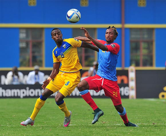 Jonathan Bolingi of DR Congo battles with Emery Bayisenge of Rwanda  during the 2016 CHAN Rwanda, Quarterfinal match between Rwanda and DR Congo in Amahoro Stadium, Kigali, Rwanda on 30 January 2016 ©Muzi Ntombela/BackpagePix