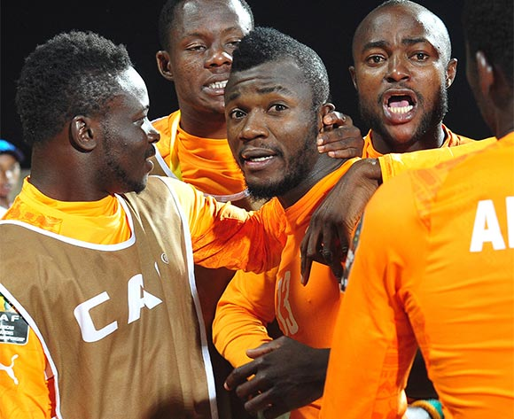 Ivory Coast players celebrate with goalscorer Yao Serge Nguessan during the 2016 CHAN Rwanda quarterfinal between Cameroon and Ivory Coast at Huye Stadium, Butare on 30 January 2016 ©Ryan Wilkisky/BackpagePix