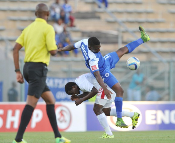 Enocent Mkhabela of Supersport United challenged by Lucky Mohoni of Free State Stars during the Absa Premiership match between Supersport United and Free State Stars at the Lucas Moripe Stadium in Pretoria, South Africa on January 30, 2016 ©Samuel Shivambu/BackpagePix