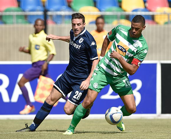 James Keene from Bidvest Wits FC and Bevan Fransman from Bloemfontein Celtic FC during the Absa Premiership match between Bloemfontein Celtic FC and Bidvest Wits FC at Dr Molemela Stadium on 31 January 2016. ©Gerhard Steenkamp/Backpage Media