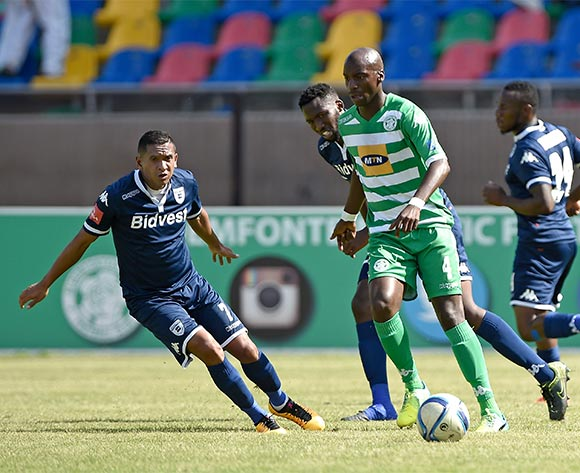 Musa Nyatama from Bloemfontein Celtic FC and Daine Klate from Bidvest Wits FC during the Absa Premiership match between Bloemfontein Celtic FC and Bidvest Wits FC at Dr Molemela Stadium on 31 January 2016.
