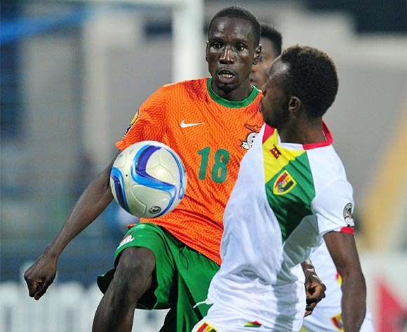 Adamuson Mulao of Zambia challenged by Alsény Bangoura of Guinea during the 2016 CHAN Rwanda, Quarterfinal match between Zambia and Guinea in Rubavu Stadium Rubavu, Rwanda on 31 January 2016 ©Muzi Ntombela/BackpagePix