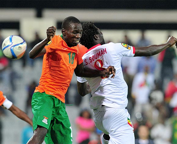 Adamuson Mulao of Zambia battles with Ibrahima Sory Soumah of Guinea during the 2016 CHAN Rwanda, Quarterfinal match between Zambia and Guinea in Rubavu Stadium Rubavu, Rwanda on 31 January 2016 ©Muzi Ntombela/BackpagePix