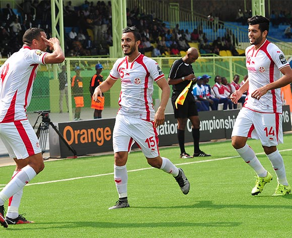 Tunisia players celebrate a goal scored by Mohamed Ali Monser of Tunisia during the 2016 CHAN Rwanda quarterfinal between Tunisa and Mali atDtade de Kigali, Kigali on 31 January 2016 ©Ryan Wilkisky/BackpagePix