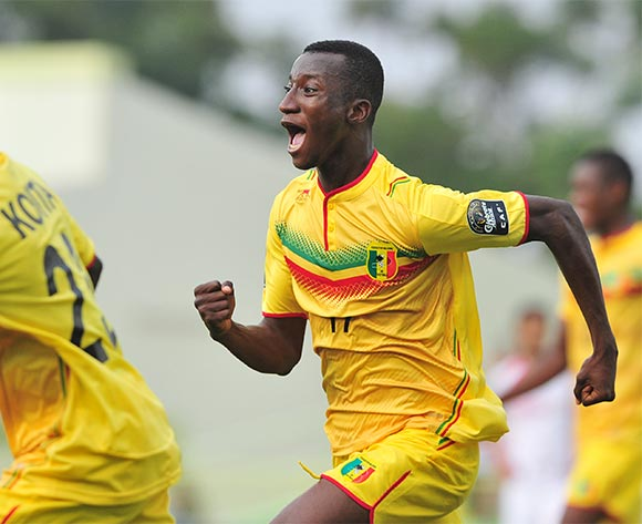 Abdoulaye Diarra of Mali celebrates the winning goal during the 2016 CHAN Rwanda quarterfinal between Tunisa and Mali atDtade de Kigali, Kigali on 31 January 2016 ©Ryan Wilkisky/BackpagePix