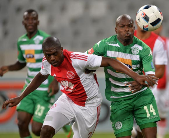 Lerato Lamola of Bloemfontein Celtic battles for the ball with Abel Mabaso of Ajax Cape Town during the Absa Premiership 2015/16 football match between Ajax Cape Town and Bloemfontein Celtic at Cape Town Stadium, Cape Town on 8 January 2016 ©Chris Ricco/BackpagePix
