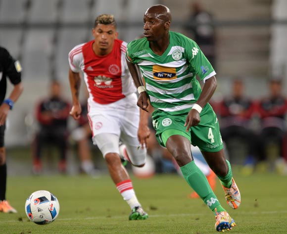 Musa Nyatama of Bloemfontein Celtic gets away from Toriq Losper of Ajax Cape Town during the Absa Premiership 2015/16 football match between Ajax Cape Town and Bloemfontein Celtic at Cape Town Stadium, Cape Town on 8 January 2016 ©Chris Ricco/BackpagePix
