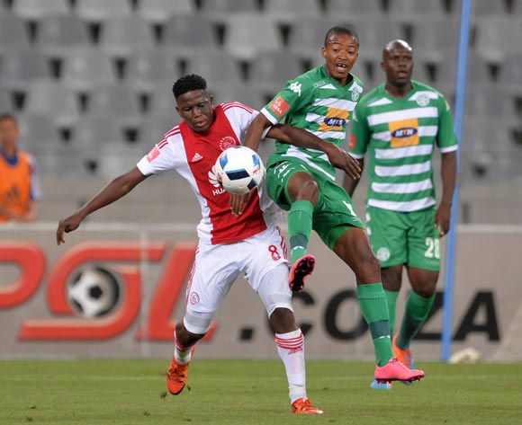 Thapelo Morena of Bloemfontein Celtic battles for the ball with Ndiviwe Mdabuka of Ajax Cape Town during the Absa Premiership 2015/16 football match between Ajax Cape Town and Bloemfontein Celtic at Cape Town Stadium, Cape Town on 8 January 2016 ©Chris Ricco/BackpagePix