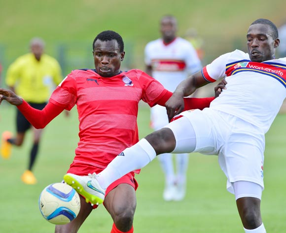 Willem Mwedihanga of University of Pretoria (r) clears ball from Charlton Mashumba of Jomo Cosmos  during the 2015/16 Absa Premiership football match between University of Pretoria and Jomo Cosmos at Tuks Stadium, Pretoria on 09 January 2016 ©Gavin Barker/BackpagePix