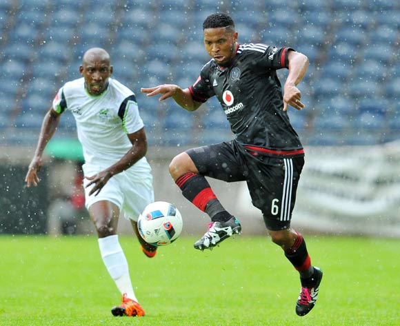 Thandani Ntshumayelo of Orlando Pirates challenged by Tintswalo Tshabalala of Platinum Stars during the Absa Premiership match between Orlando Pirates and Platinum Stars at the Orlando Stadium in Johannesburg, South Africa on January 09, 2016 ©Samuel Shivambu/BackpagePix