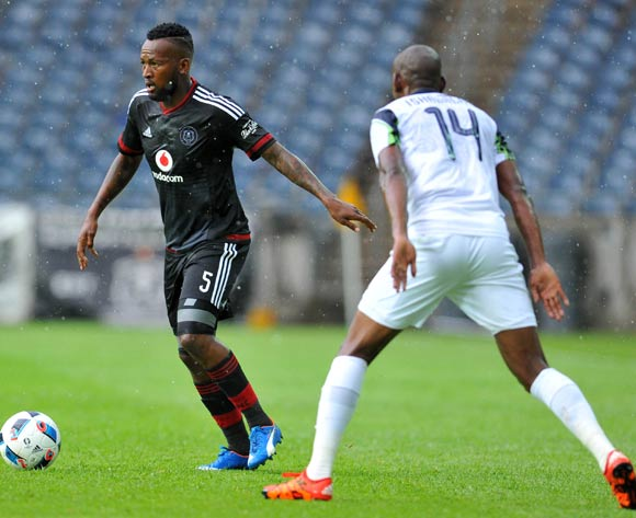 Mpho Makola of Orlando Pirates challenged by Tintswalo Tshabalala of Platinum Stars during the Absa Premiership match between Orlando Pirates and Platinum Stars at the Orlando Stadium in Johannesburg, South Africa on January 09, 2016 ©Samuel Shivambu/BackpagePix
