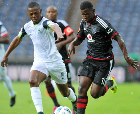 Sifiso Myeni of Orlando Pirates challenged by Ndumiso Mabena of Platinum Stars during the Absa Premiership match between Orlando Pirates and Platinum Stars at the Orlando Stadium in Johannesburg, South Africa on January 09, 2016 ©Samuel Shivambu/BackpagePix