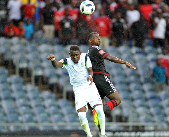 Sifiso Myeni of Orlando Pirates challenged by Siyabonga Zulu of Platinum Stars during the Absa Premiership match between Orlando Pirates and Platinum Stars at the Orlando Stadium in Johannesburg, South Africa on January 09, 2016 ©Samuel Shivambu/BackpagePix