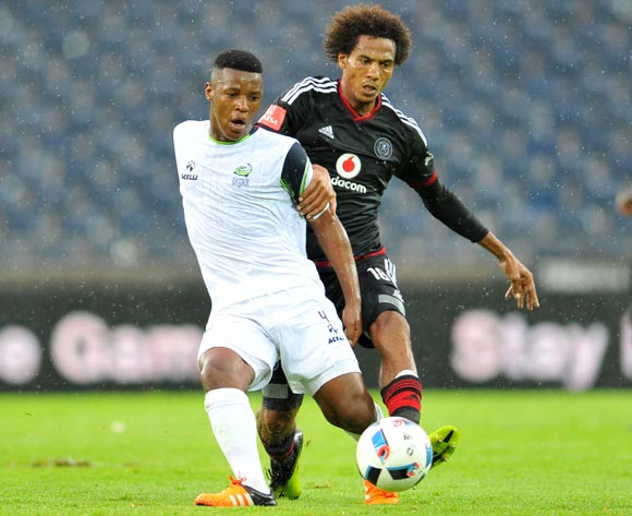 Khulekani Madondo of Platinum Stars challenged by Issa Sarr of Orlando Pirates  during the Absa Premiership match between Orlando Pirates and Platinum Stars at the Orlando Stadium in Johannesburg, South Africa on January 09, 2016 ©Samuel Shivambu/BackpagePix