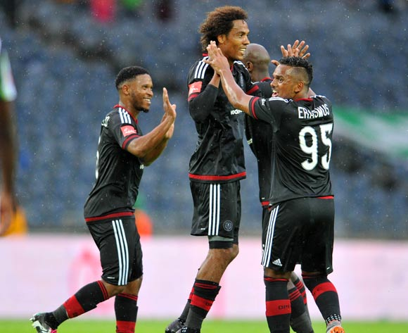 Issa Sarr of Orlando Pirates celebrates his goal with his teammates during the Absa Premiership match between Orlando Pirates and Platinum Stars at the Orlando Stadium in Johannesburg, South Africa on January 09, 2016 ©Samuel Shivambu/BackpagePix