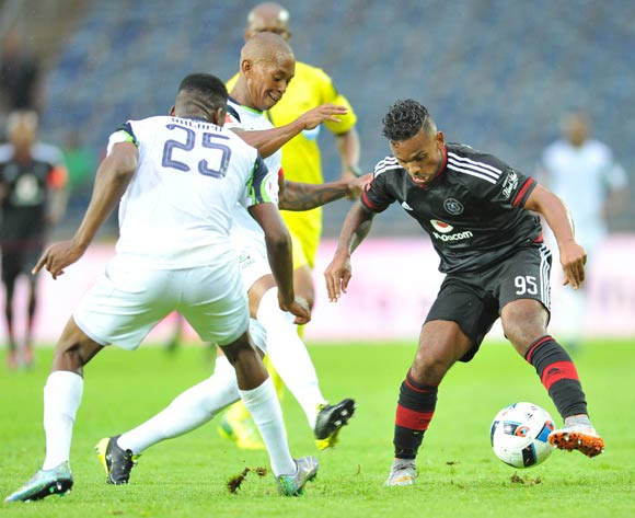 Kermit Erasmus formerly of Orlando Pirates challenged by Vuyo Mere and Isaac Nhlapo of Platinum Stars during the Absa Premiership match between Orlando Pirates and Platinum Stars at the Orlando Stadium in Johannesburg, South Africa on January 09, 2016 ©Samuel Shivambu/BackpagePix