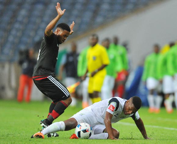 Khulekani Madondo of Platinum Stars challenged by Thandani Ntshumayelo of Orlando Pirates during the Absa Premiership match between Orlando Pirates and Platinum Stars at the Orlando Stadium in Johannesburg, South Africa on January 09, 2016 ©Samuel Shivambu/BackpagePix