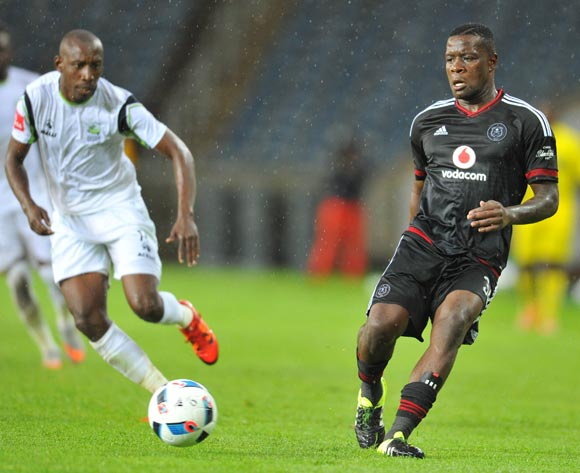 Ntsikelelo Nyauza of Orlando Pirates challenged by Tintswalo Tshabalala of Platinum Stars during the Absa Premiership match between Orlando Pirates and Platinum Stars at the Orlando Stadium in Johannesburg, South Africa on January 09, 2016 ©Samuel Shivambu/BackpagePix