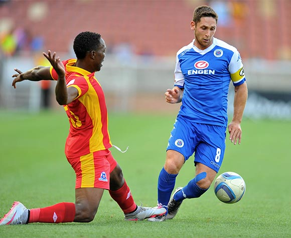 Dean Furman of Supersport United challenged by Philani Zulu of Maritzburg United during the Absa Premiership match between Supersport United and Maritzburg United at the Peter Mokaba Stadium in Limpopo, South Africa on January 10, 2016 ©Samuel Shivambu/BackpagePix