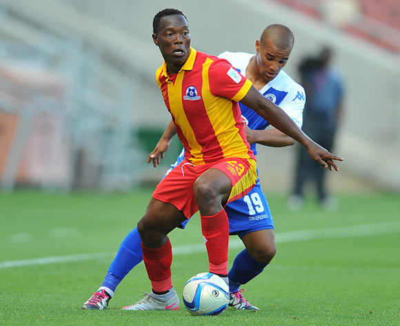 Philani Zulu of Maritzburg United challenged by Fagrie Lakay of Supersport United during the Absa Premiership match between Supersport United and Maritzburg United at the Peter Mokaba Stadium in Limpopo, South Africa on January 10, 2016 ©Samuel Shivambu/BackpagePix