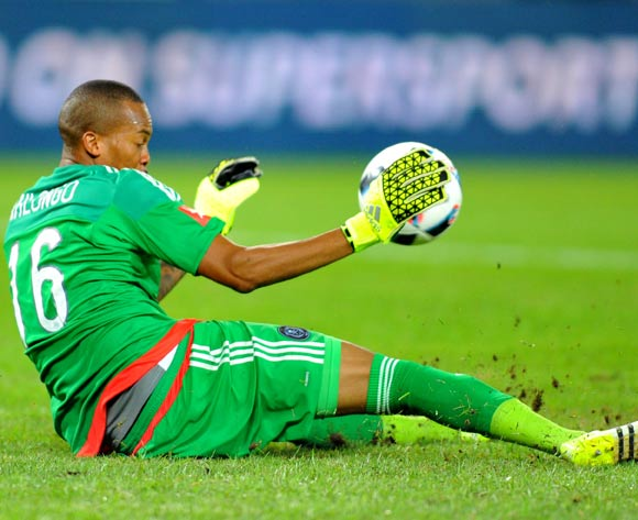 Brighton Mhlongo of Orlando Pirates save the ball during the Absa Premiership match between Orlando Pirates and University of Pretoria at the Orlando Stadium in Johannesburg, South Africa on January 13, 2016 ©Samuel Shivambu/BackpagePix