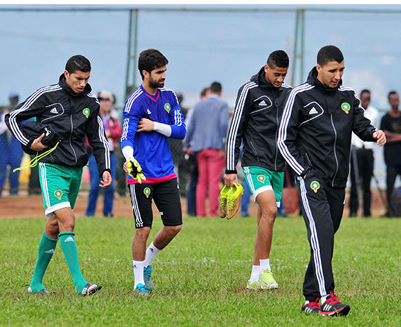 Morocco players arrive at training during the 2016 CHAN Rwanda Morocco Training at Amahoro Stadium, Kigali on the 15 January 2016