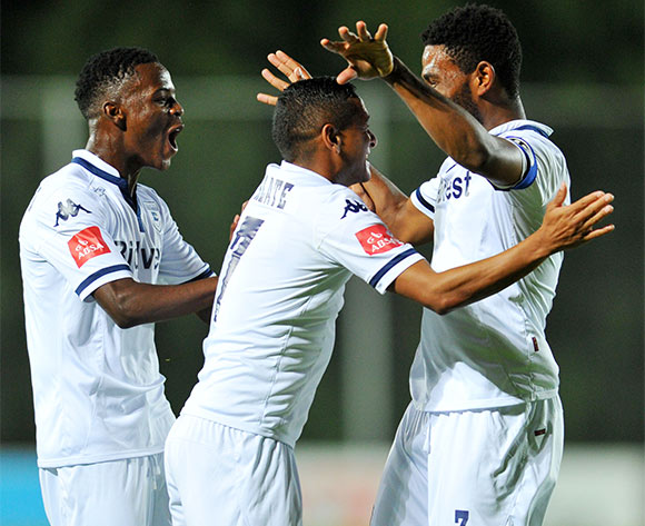 Thulani Hlatshwayo celebrates his goal with Phakamani Mahlaambi and Daine Klate of Bidvest Wits during the Absa Premiership match between Bidvest Wits and Black Aces at the Bidvest Stadium in Johannesburg, South Africa on January 15, 2016 ©Samuel Shivambu/BackpagePix