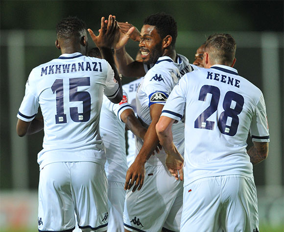 Thulani Hlatshwayo of Bidvest Wits celebrates his goal with hia teammates during the Absa Premiership match between Bidvest Wits and Black Aces at the Bidvest Stadium in Johannesburg, South Africa on January 15, 2016 ©Samuel Shivambu/BackpagePix